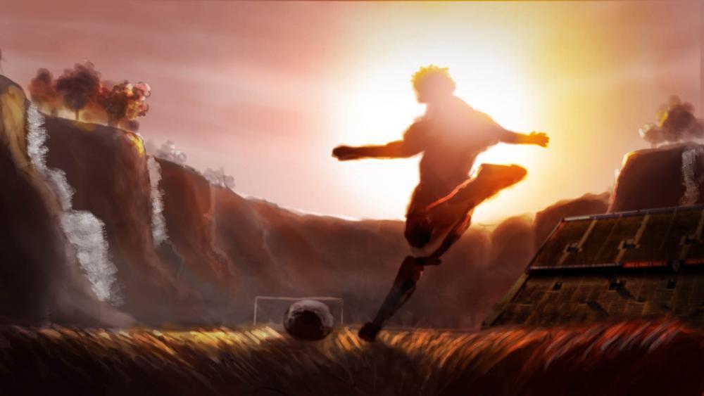 Boceto Fútbol Guraní Idea inicial volcada al Storyboard. En una primera etapa se plasmo una imagen para luego darle color y el clima buscado.
